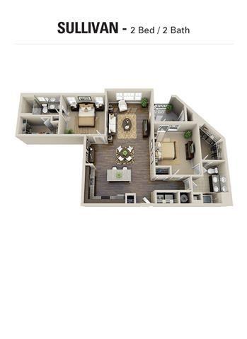 Sullivan Floor Plan at Berkshire Cameron Village, Raleigh, 27605
