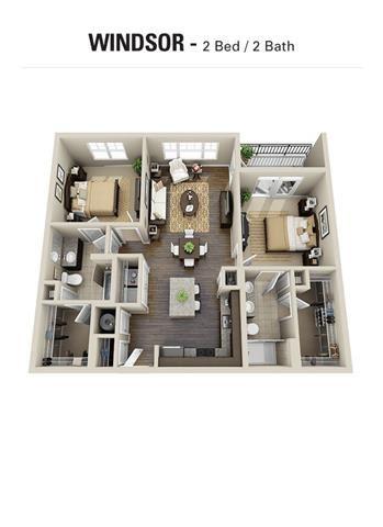 Windsor Floor Plan at Berkshire Cameron Village, Raleigh