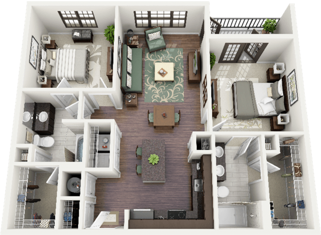 Bryson Floor Plan at Berkshire Ninth Street, Durham, NC, 27705