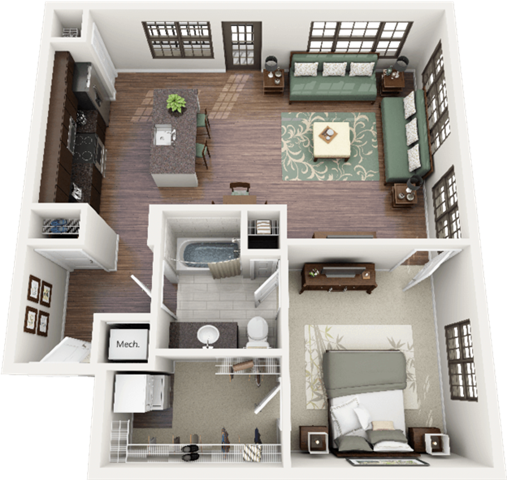 Bullington Floor Plan at Berkshire Ninth Street, Durham, NC