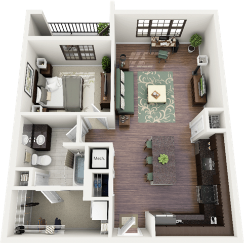 Morgan Floor Plan at Berkshire Ninth Street, Durham