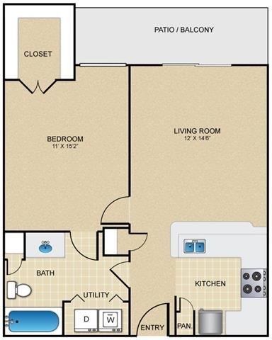 A1 Floor Plan at Estates at Bellaire, Texas, 77081