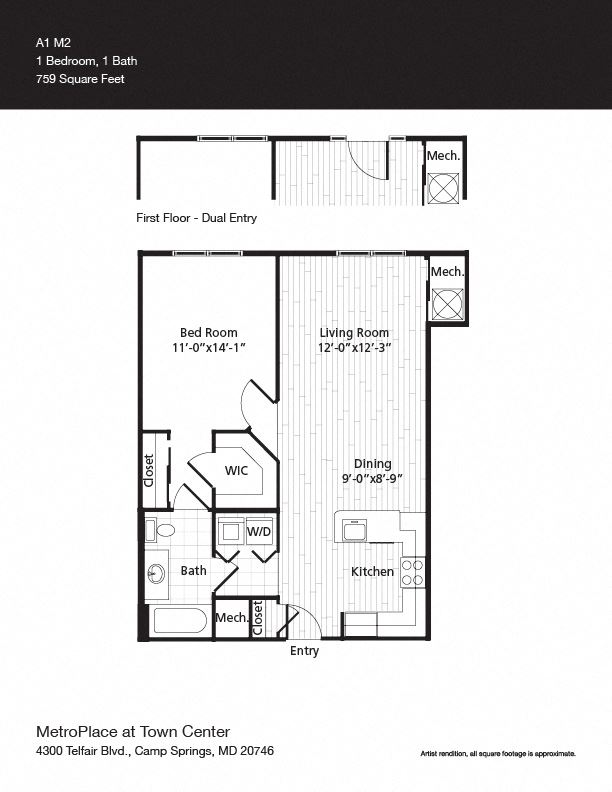 A1M2 Floor Plan at Metro Place at Town Center, Camp Springs, MD