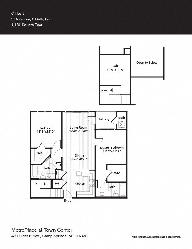 Eastern Market w/Loft Floor Plan at Metro Place at Town Center, Camp Springs