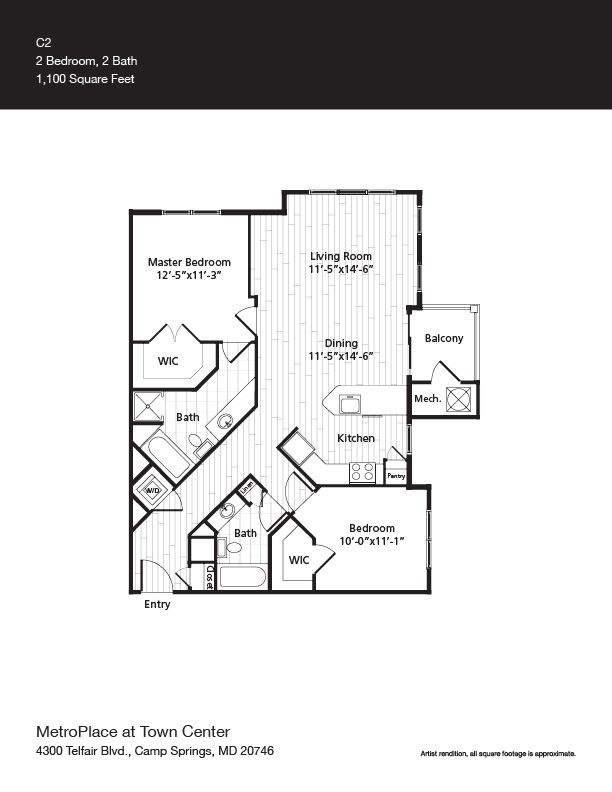 Woodley Park Floor Plan at Metro Place at Town Center, Camp Springs, 20746