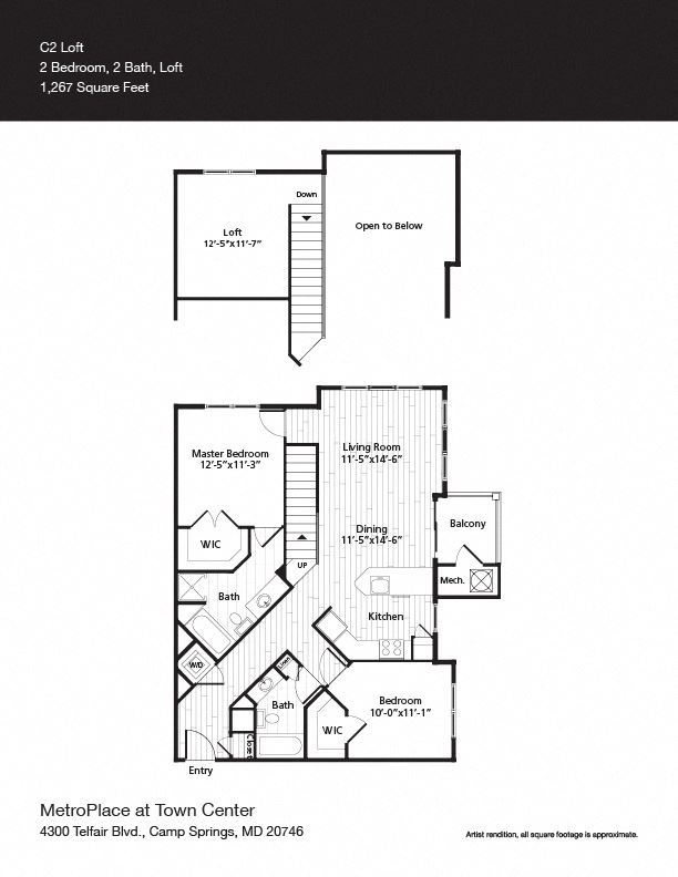 Federal Triangle Floor Plan at Metro Place at Town Center, Camp Springs, MD, 20746