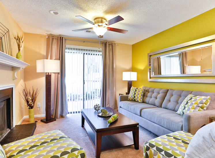 Spacious Living Room With Private Balcony at Ascent Pineville, Charlotte