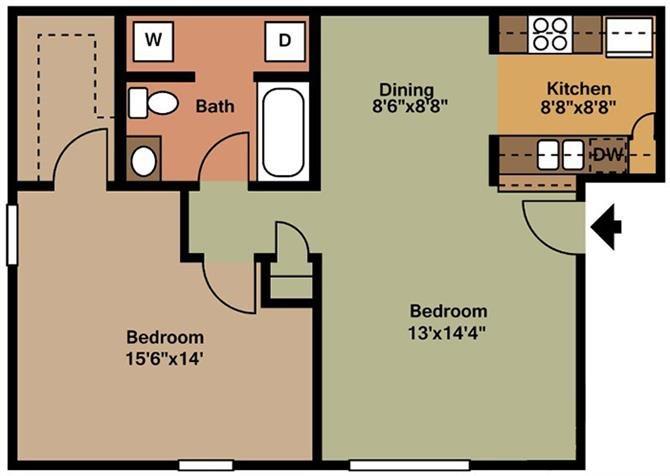1 Bedroom - A Floor Plan 1