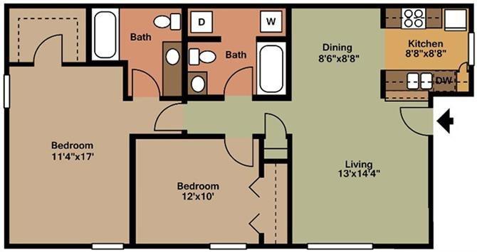 2 Bedroom- B Floor Plan 2
