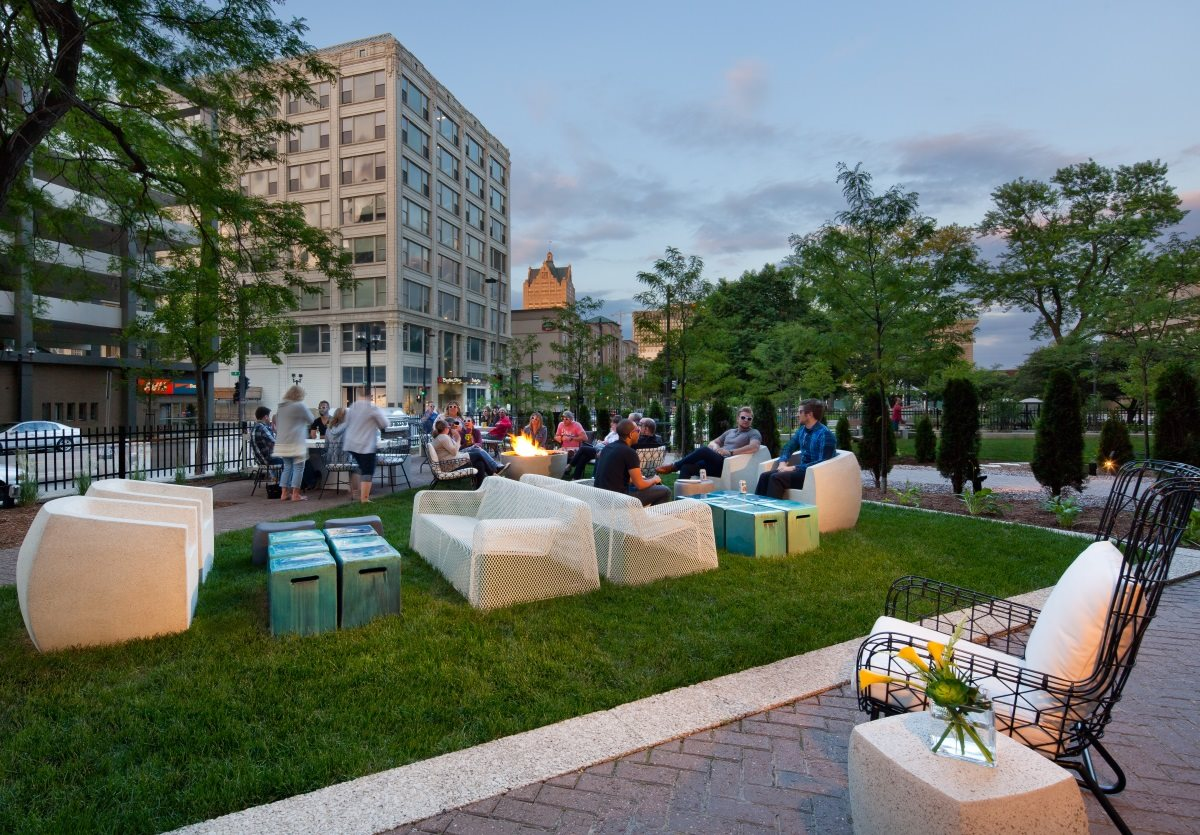Relax in the outdoor courtyard with lounge seating at The Buckler in Milwaukee.