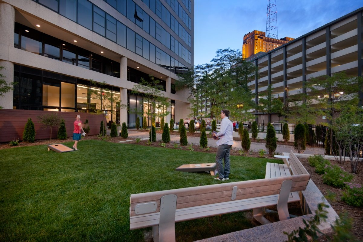 Enjoy a game of corn toss with your neighbor at The Buckler in Milwaukee, WI.