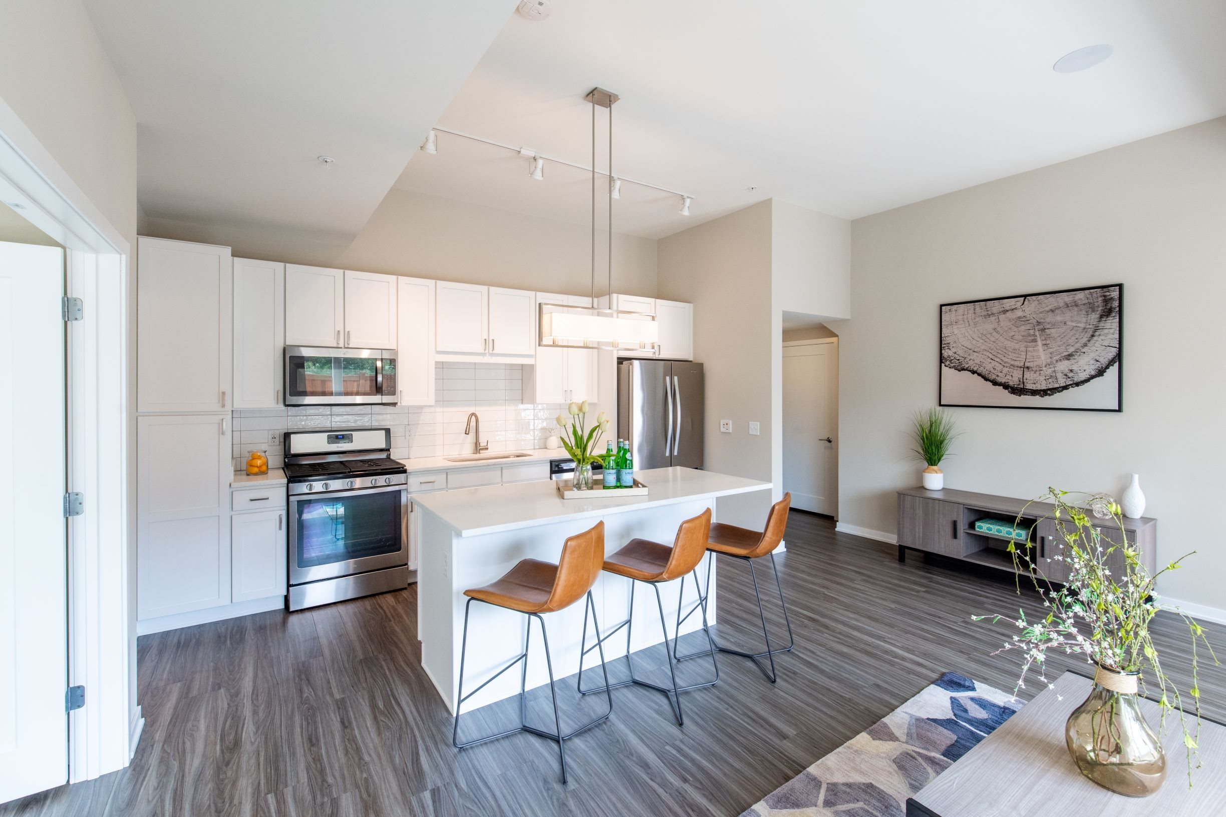 Kitchen with white cabinets and modern light fixture