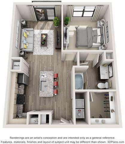 1 Bed - 1 Bath, 750 sq ft, A2 floor plan