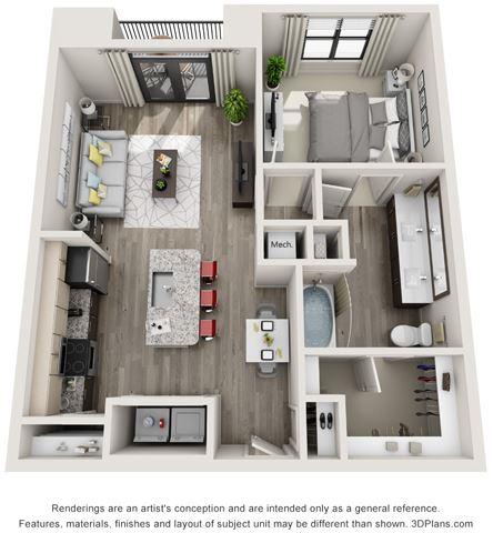 1 Bed - 1 Bath, 810 sq ft, A3 floor plan