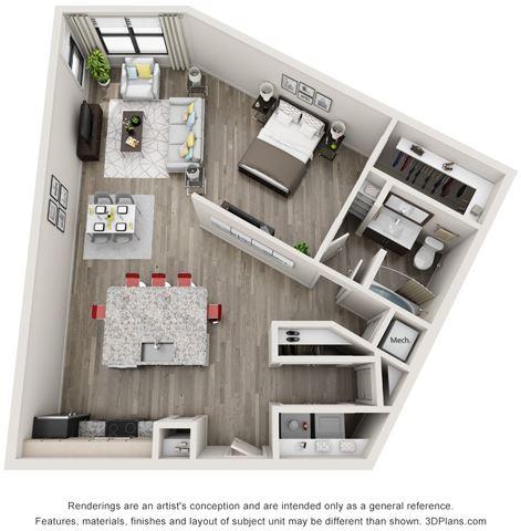 1 Bed - 1 Bath, 935 sq ft, A5 floor plan