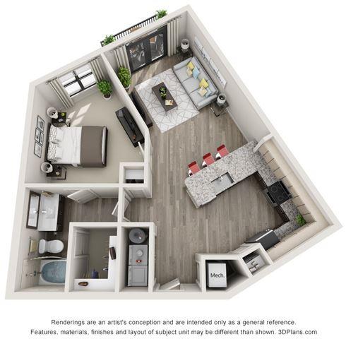 1 Bed - 1 Bath, 773 sq ft, A6 floor plan