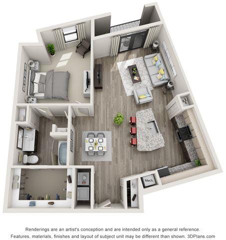 1 Bed - 1 Bath, 976 sq ft, A7 floor plan