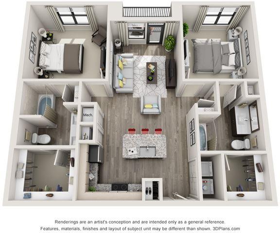 2 Bed - 2 Bath, 1099 sq ft, B1 floor plan