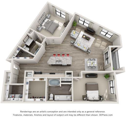 2 Bed - 2 Bath, 1558 sq ft, B4 floor plan