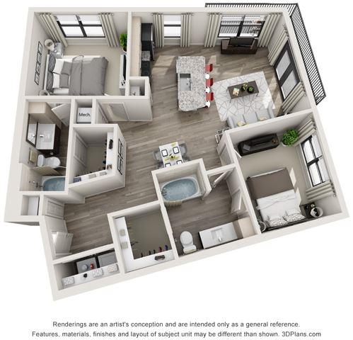 2 Bed - 2 Bath, 1031 sq ft, B5 floor plan