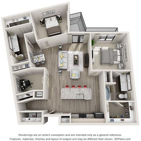 2 Bed - 2 Bath, 1330 sq ft, B6 floor plan