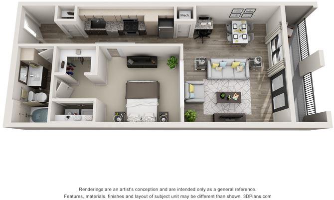 1 Bed - 1 Bath, 840 sq ft, L1 floor plan