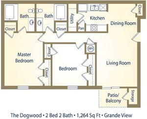 Two Bedroom Floorplan at Grande View Apartment Homes, Mississippi