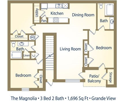 Three Bedroom Floorplan at Grande View Apartment Homes, Biloxi