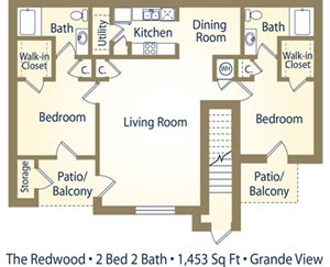 Two Bedroom Floorplan at Grande View Apartment Homes, Mississippi 39531