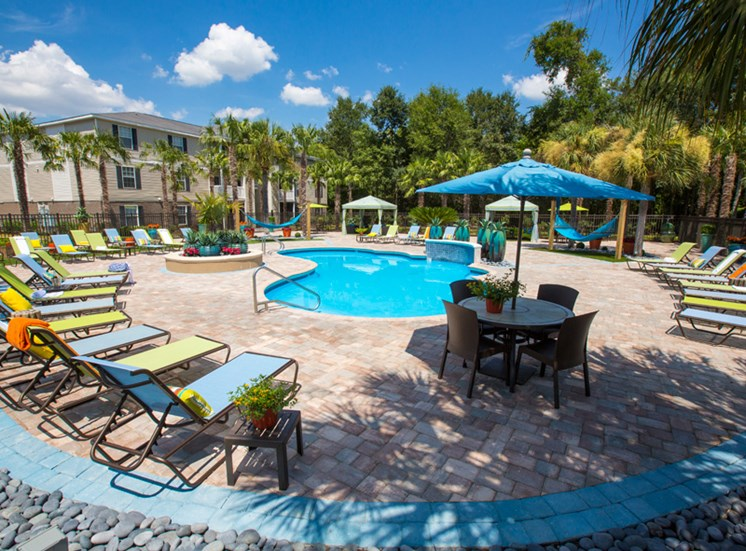 Sparkling Pool with Lounge Area at Grande View Apartment Homes, Biloxi, MS
