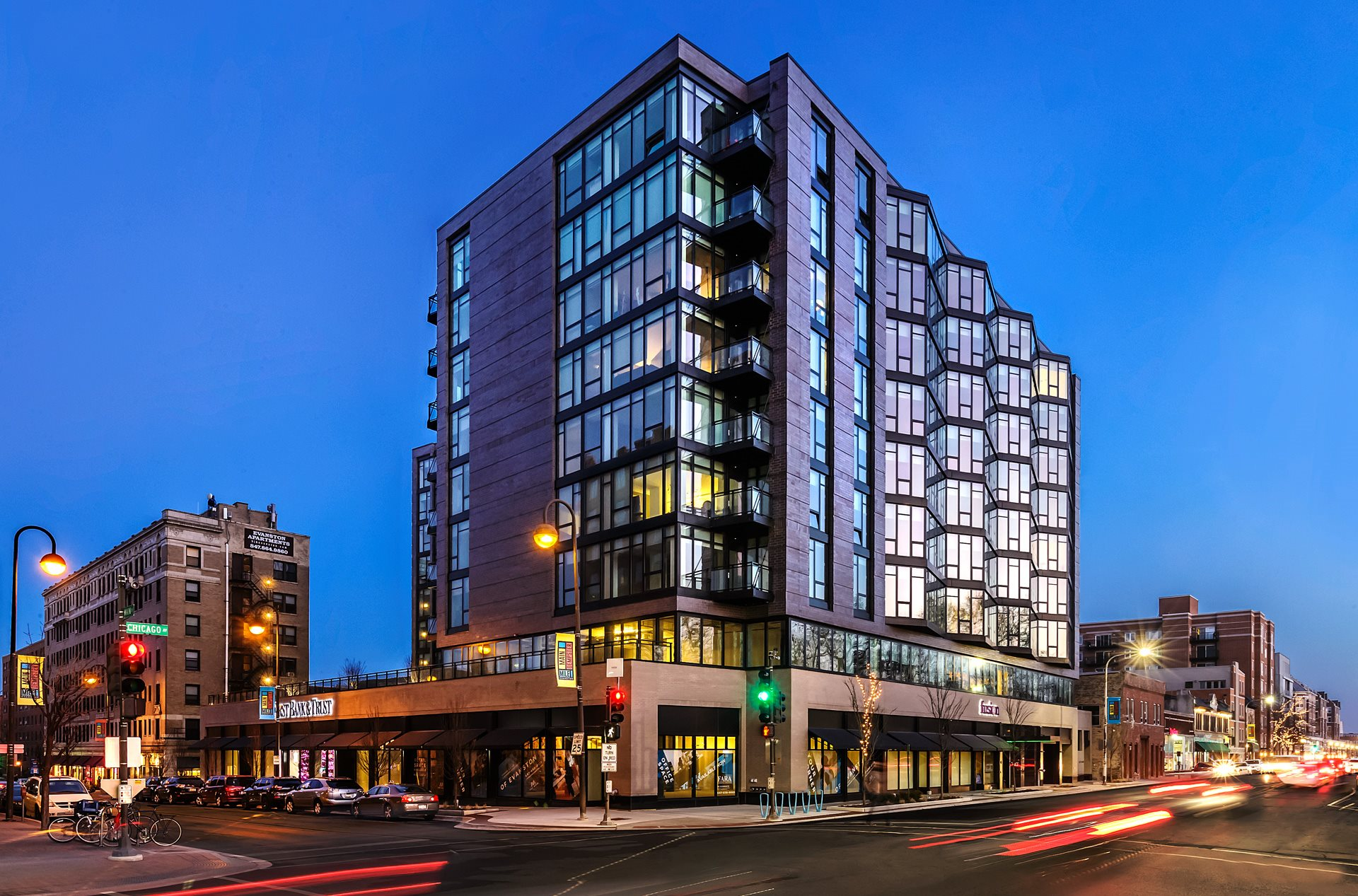 Apartments for Rent in Evanston, IL - The Main Apartments Exterior Building View at Night