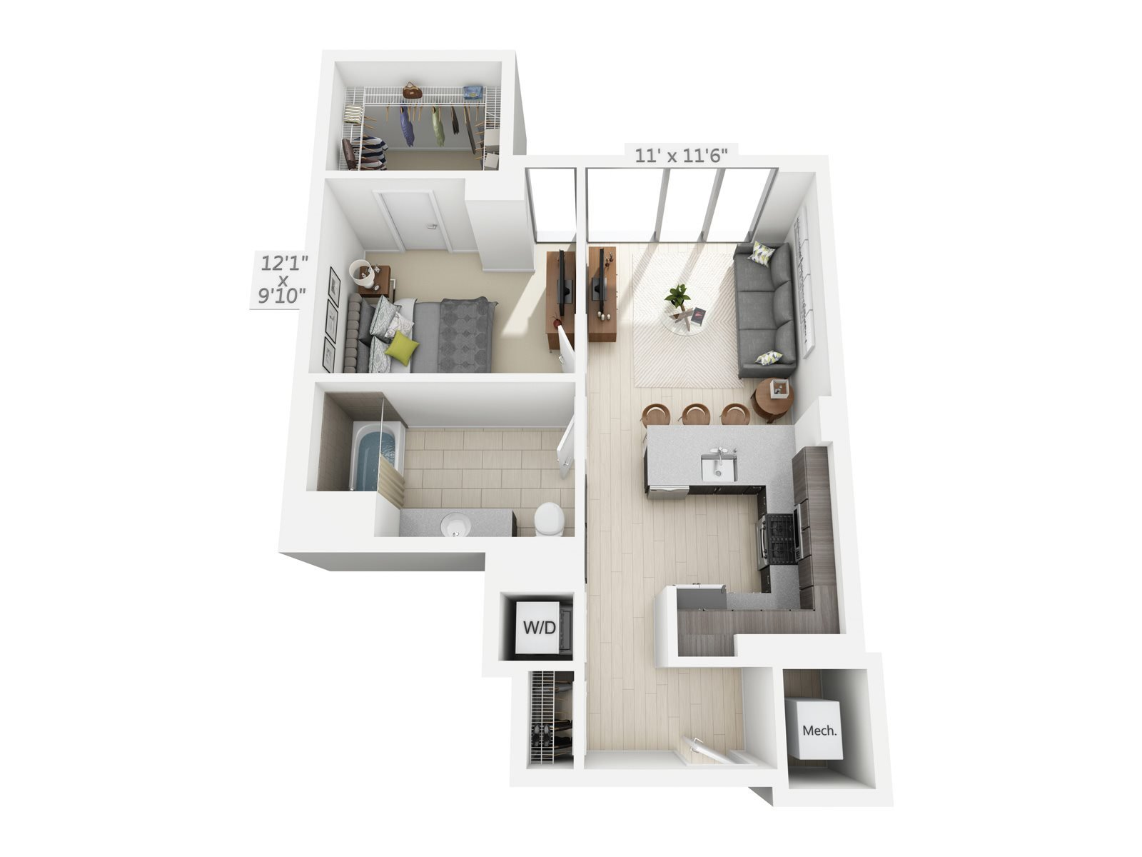 1 BEDROOM/1 BATH B1 Floor Plan 2