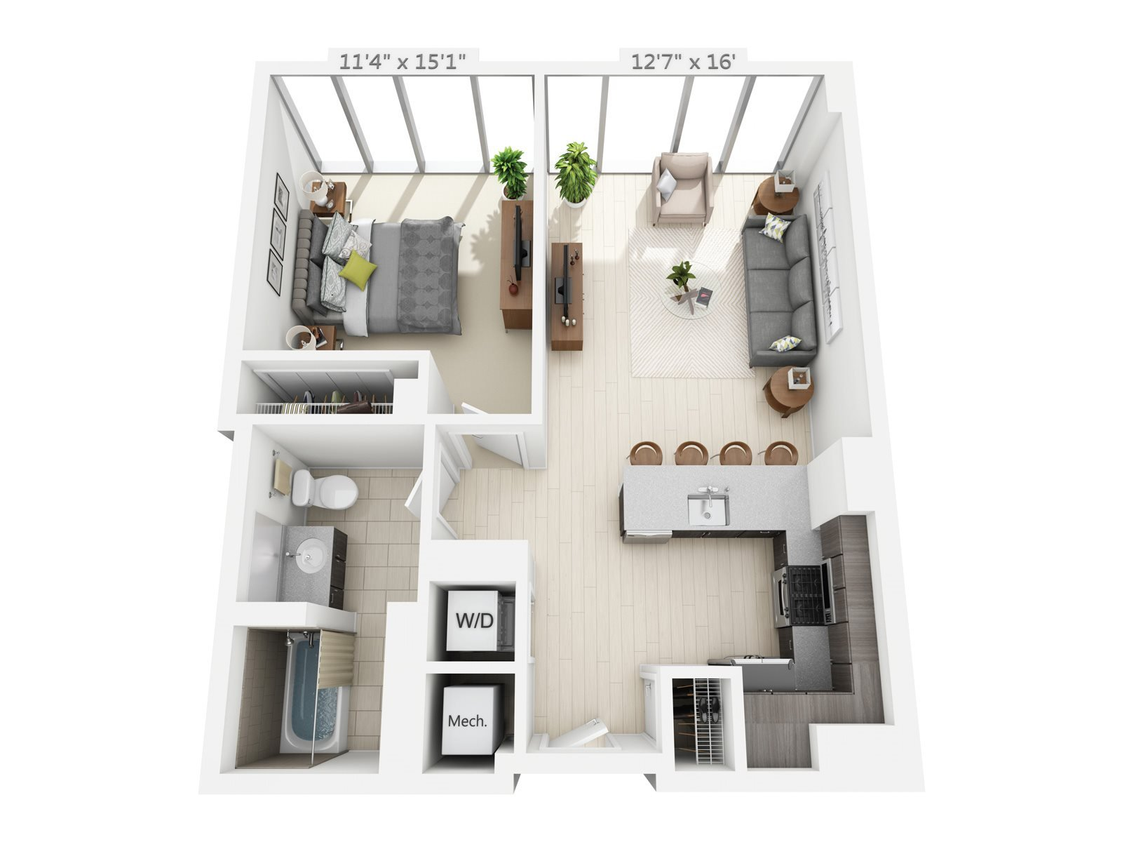 1 BEDROOM/1 BATH B2 Floor Plan 3