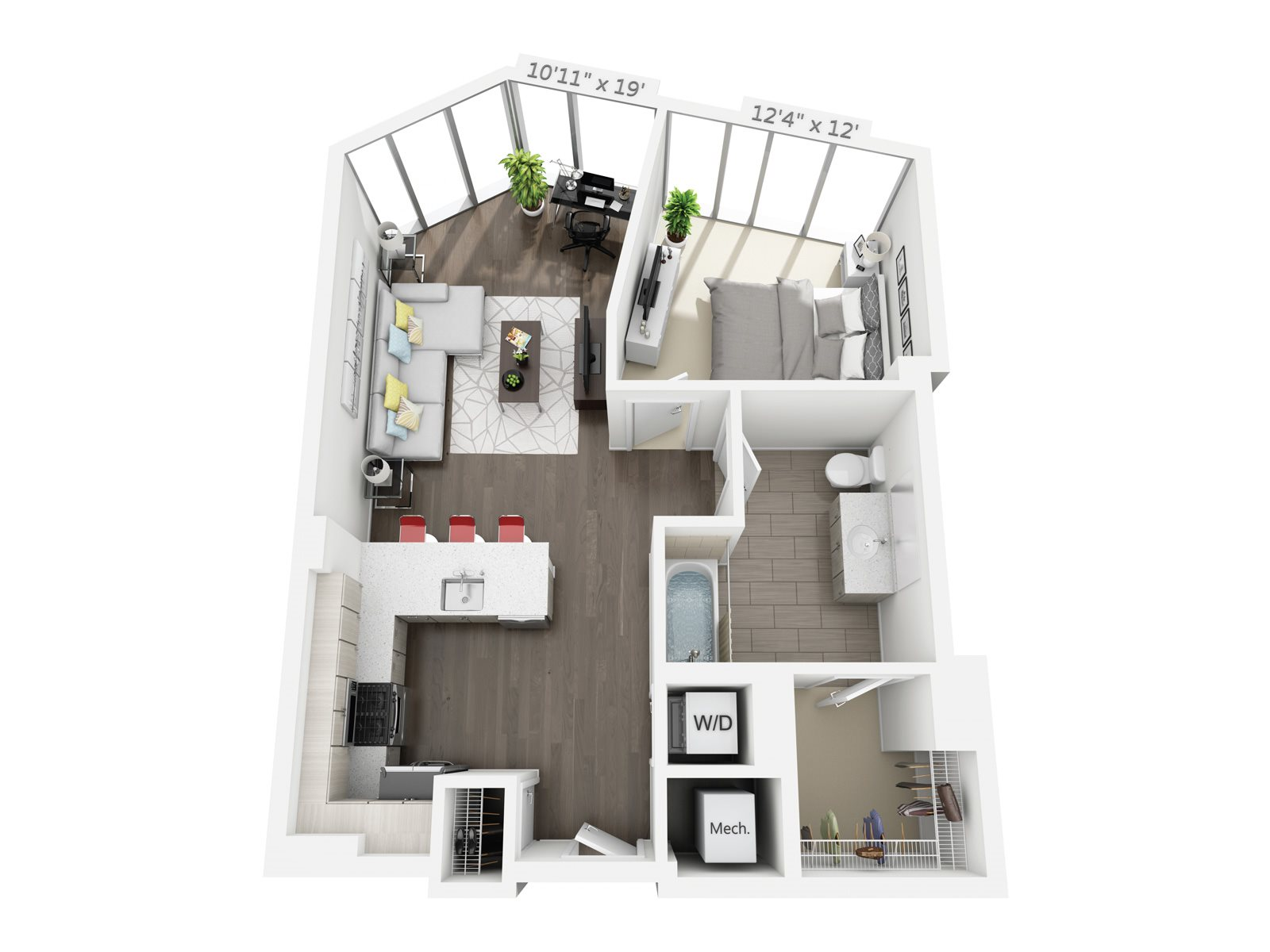 1 BEDROOM/1 BATH B3 Floor Plan 4