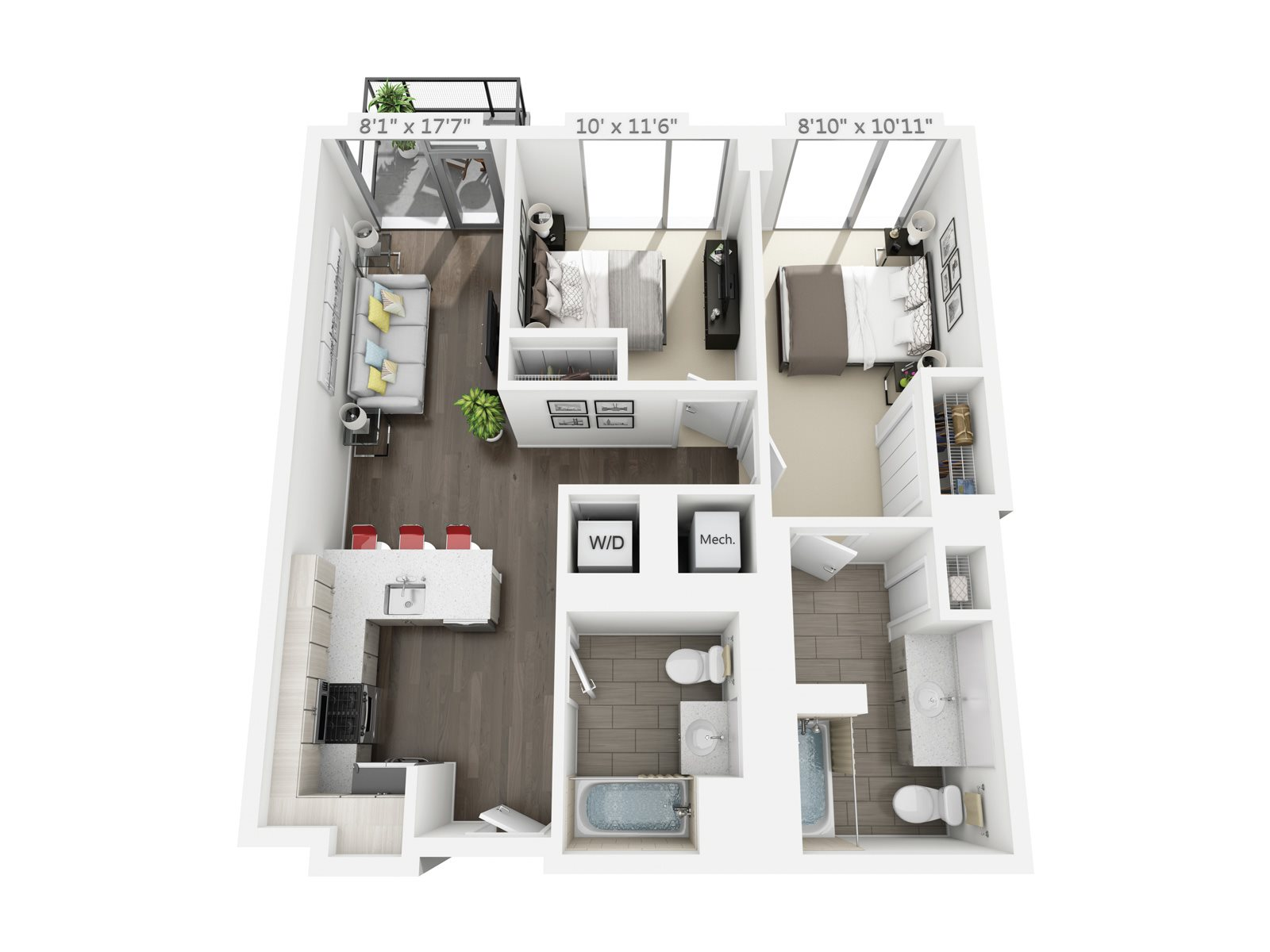 2 BEDROOM/ 2 BATH BALCONY C1 Floor Plan 7
