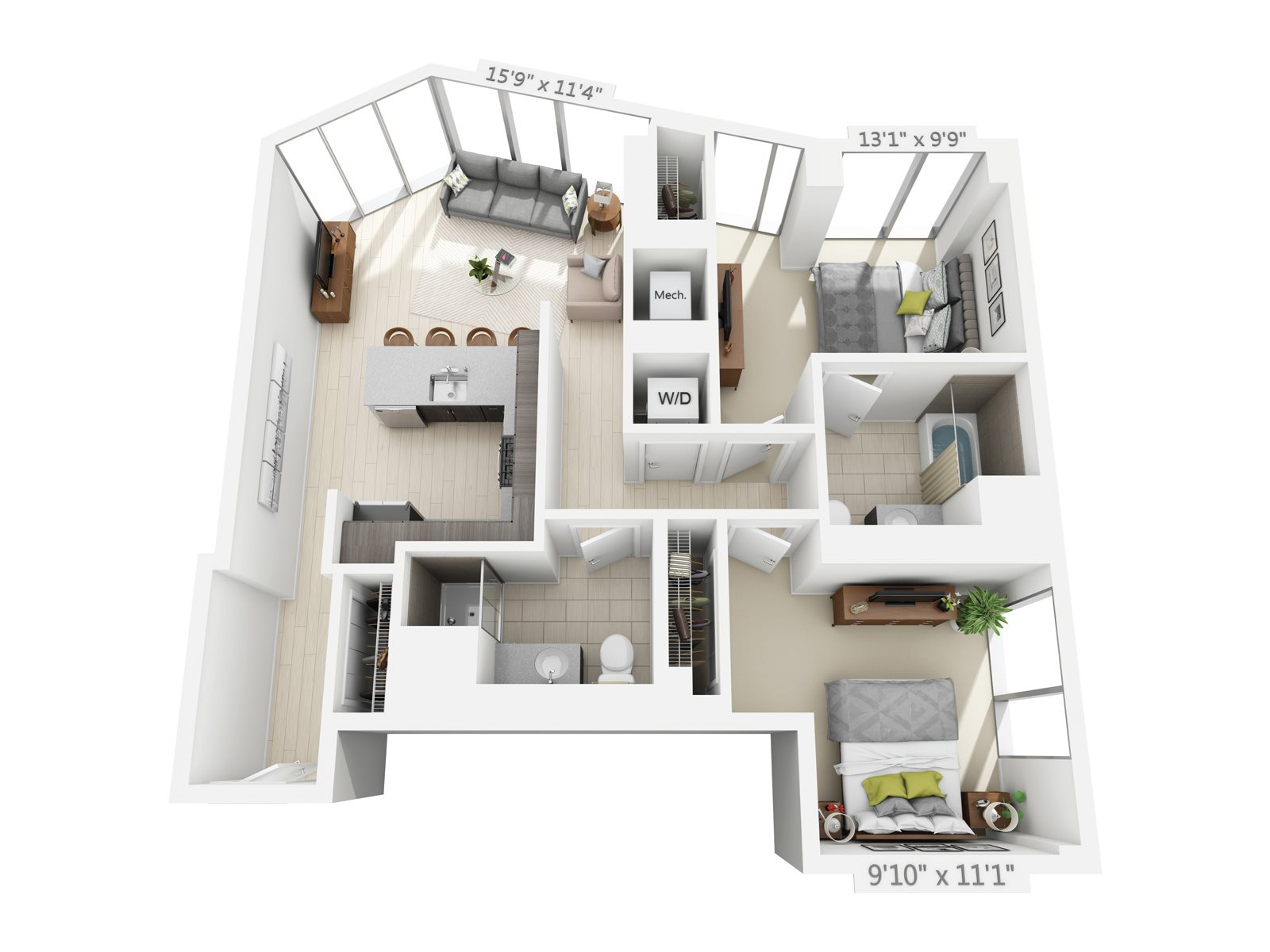 2 BEDROOM/2 BATH C2 Floor Plan 8