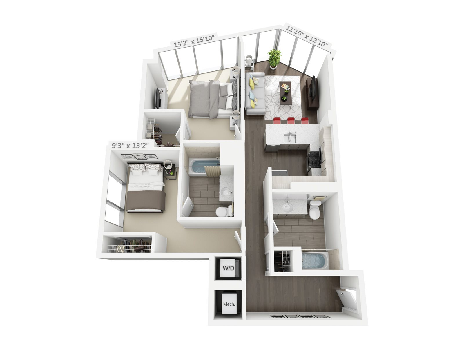 2 BEDROOM/2 BATH C3 Floor Plan 9