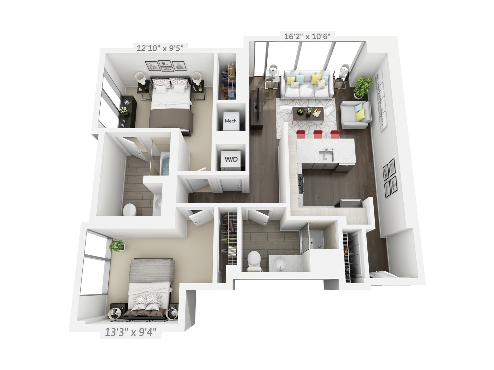 2 BEDROOM/2 BATH C4 Floor Plan 10
