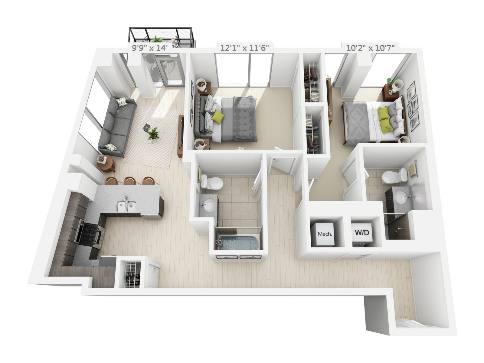 2 BEDROOM/2 BATH C6 Floor Plan 12