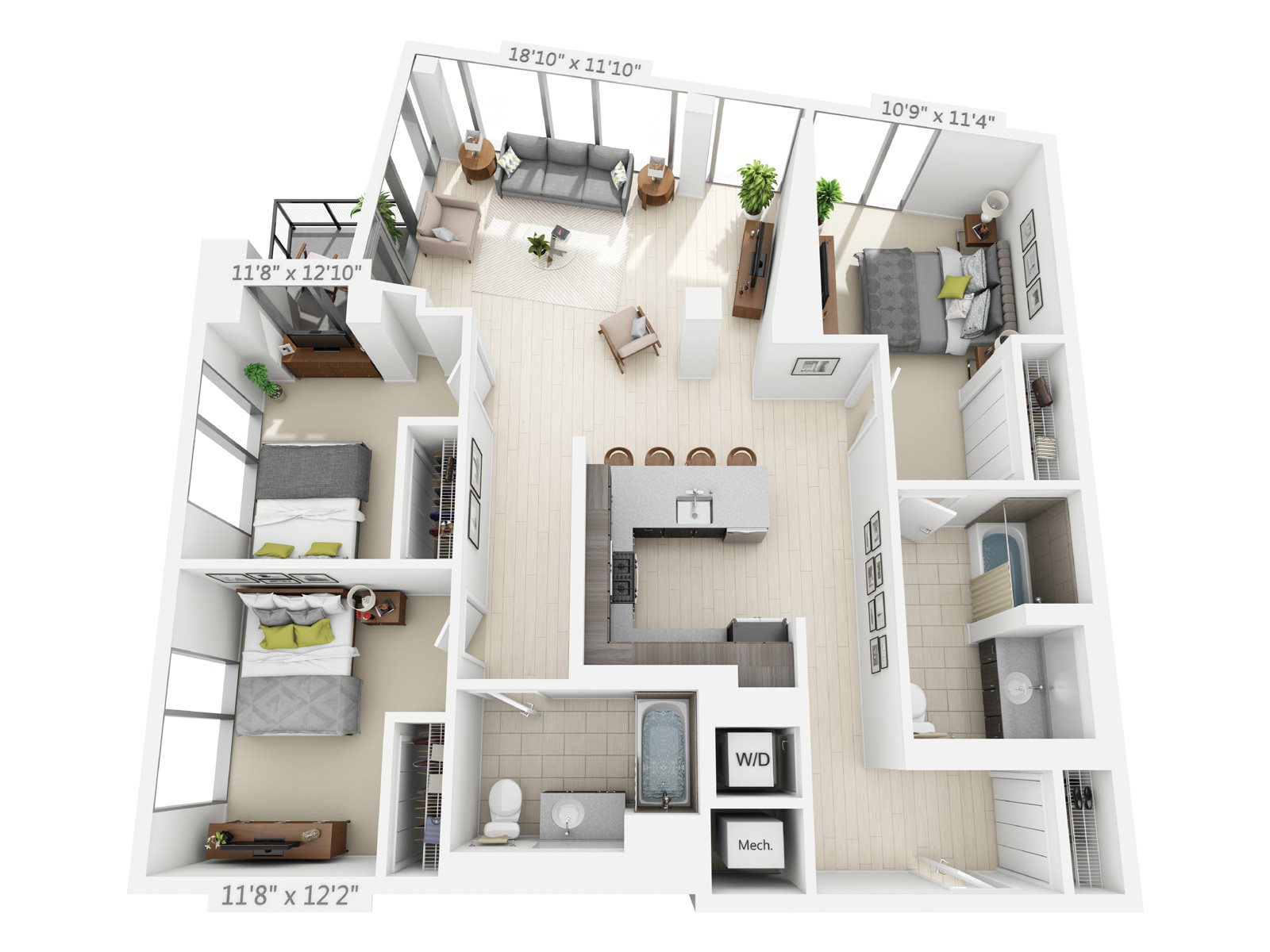 3 BEDROOM/2 BATH D1 Floor Plan 13