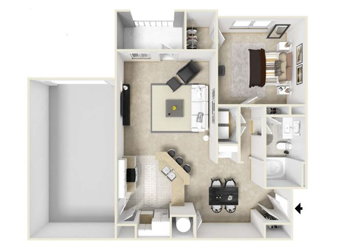 1 Bed 1 Bath, 880 square feet floor plan The Tennessee
