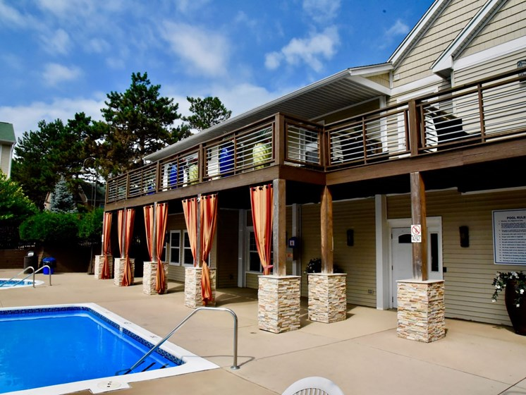 Refreshing Pool and Sundeck at The Bronco Club Townhomes in Kalamazoo, MI