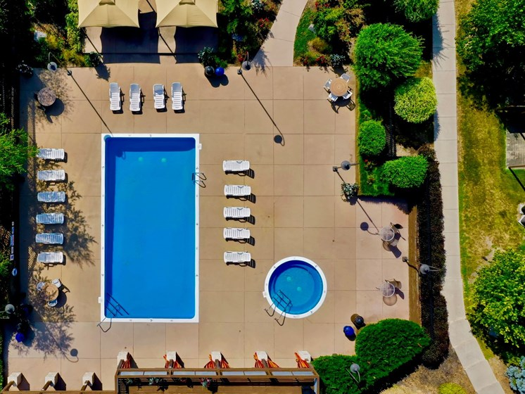 Aerial View of The Bronco Club Townhomes Pool in Kalamazoo, MI near Western Michigan University