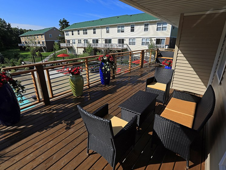 Clubhouse Deck At The Bronco Club Townhomes In Kalamazoo, MI Near Western Michigan University