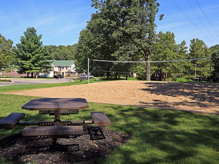 Recreational Sand Volleyball Court At The Bronco Club Townhomes In Kalamazoo, MI Near Western Michigan University