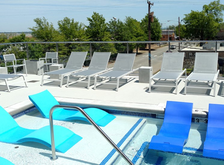Iron City Lofts elevated third floor pool deck for tanning and staying cool in the summer
