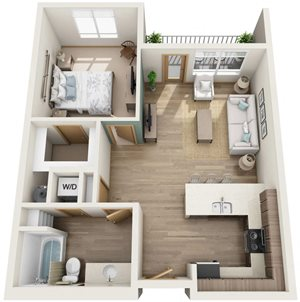 1 Bedroom, 1 Bath Apartment