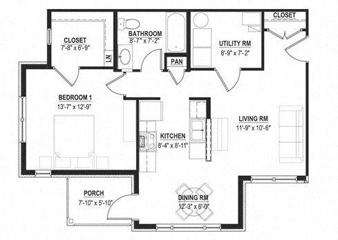 One Bedroom Garden Floor Plan 4