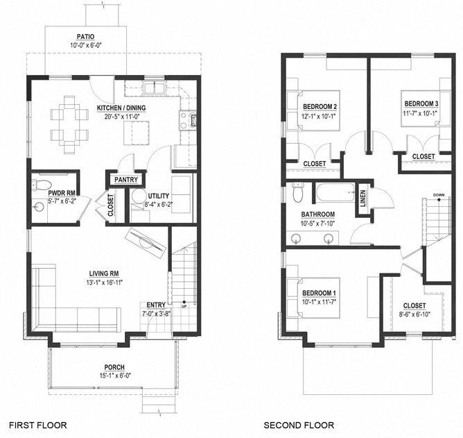Three Bedroom Townhouse Floor Plan 7