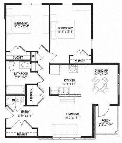Two Bedroom Garden Floor Plan 5